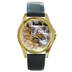 Waterfall Round Leather Watch (gold Rim)  by uniquedesignsbycassie