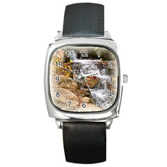 Waterfall Square Leather Watch by uniquedesignsbycassie
