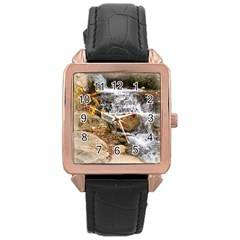 Waterfall Rose Gold Leather Watch  by uniquedesignsbycassie
