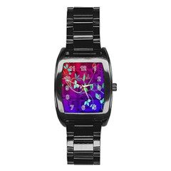 Floral Colorful Stainless Steel Barrel Watch