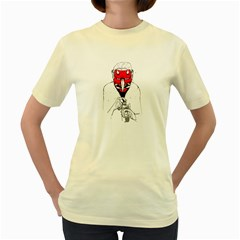 Devil Face  Womens  T Shirt (yellow) by Contest1743617