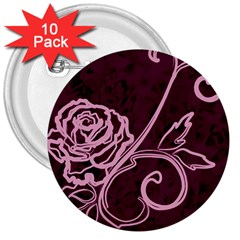 Rose 3  Button (10 Pack)