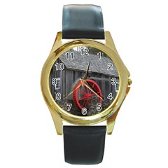 Vermont Christmas Barn Round Leather Watch (gold Rim)  by plainandsimple