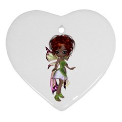 Fairy Magic Faerie In A Dress Heart Ornament by goldenjackal