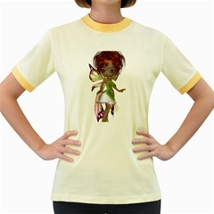 Fairy Magic Faerie In A Dress Womens  Ringer T Shirt (colored) by goldenjackal