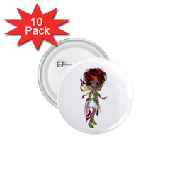Fairy Magic Faerie In A Dress 1 75  Button (10 Pack) by goldenjackal