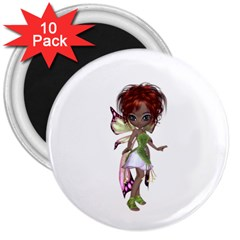 Fairy Magic Faerie In A Dress 3  Button Magnet (10 Pack) by goldenjackal