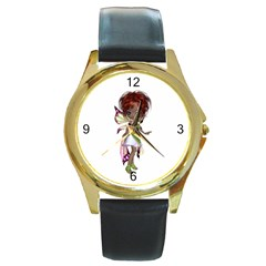 Fairy Magic Faerie In A Dress Round Leather Watch (gold Rim)  by goldenjackal