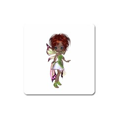 Fairy Magic Faerie In A Dress Magnet (square) by goldenjackal