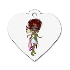Fairy Magic Faerie In A Dress Dog Tag Heart (one Sided)  by goldenjackal