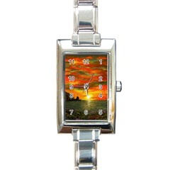 Alyssa s Sunset By Ave Hurley Artrevu   Rectangle Italian Charm Watch by ArtRave2