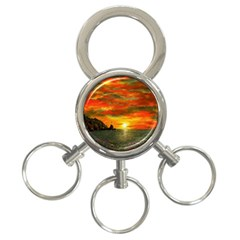 Alyssa s Sunset By Ave Hurley Artrevu   3 Ring Key Chain