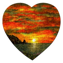 Alyssa s Sunset By Ave Hurley Artrevu   Jigsaw Puzzle (heart)