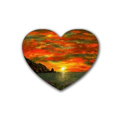 Alyssa s Sunset By Ave Hurley Artrevu   Rubber Heart Coaster (4 Pack) by ArtRave2