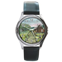 amish Apple Blossoms  By Ave Hurley Of Artrevu   Round Metal Watch by ArtRave2