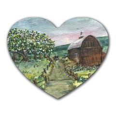 amish Apple Blossoms  By Ave Hurley Of Artrevu   Heart Mousepad by ArtRave2