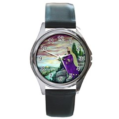 Jesus Overlooking Jerusalem   Ave Hurley   Artrave   Round Leather Watch (silver Rim) by ArtRave2