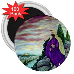 Jesus Overlooking Jerusalem - Ave Hurley - Artrave - 3  Button Magnet (100 Pack) by ArtRave2