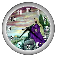 Jesus Overlooking Jerusalem   Ave Hurley   Artrave   Wall Clock (silver) by ArtRave2