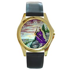 Jesus Overlooking Jerusalem   Ave Hurley   Artrave   Round Leather Watch (gold Rim)  by ArtRave2