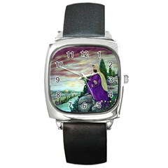Jesus Overlooking Jerusalem - Ave Hurley - Artrave - Square Leather Watch by ArtRave2