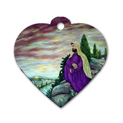 Jesus Overlooking Jerusalem   Ave Hurley   Artrave   Dog Tag Heart (two Sided) by ArtRave2
