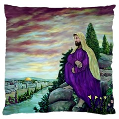 Jesus Overlooking Jerusalem   Ave Hurley   Artrave   Large Cushion Case (single Sided)  by ArtRave2