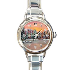 jane s Winter Sunset   By Ave Hurley Of Artrevu   Round Italian Charm Watch