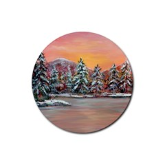 jane s Winter Sunset   By Ave Hurley Of Artrevu   Rubber Round Coaster (4 Pack)
