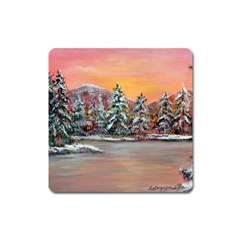 jane s Winter Sunset   By Ave Hurley Of Artrevu   Magnet (square)
