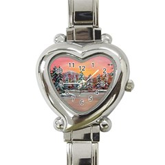 jane s Winter Sunset   By Ave Hurley Of Artrevu   Heart Italian Charm Watch by ArtRave2