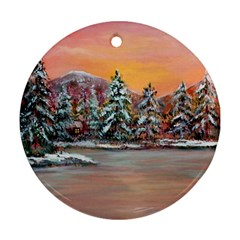 jane s Winter Sunset   By Ave Hurley Of Artrevu   Round Ornament (two Sides) by ArtRave2