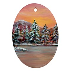 jane s Winter Sunset   By Ave Hurley Of Artrevu   Oval Ornament (two Sides) by ArtRave2