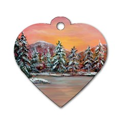 jane s Winter Sunset   By Ave Hurley Of Artrevu   Dog Tag Heart (two Sides) by ArtRave2