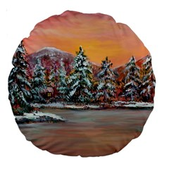jane s Winter Sunset   By Ave Hurley Of Artrevu   Large 18  Premium Round Cushion  by ArtRave2