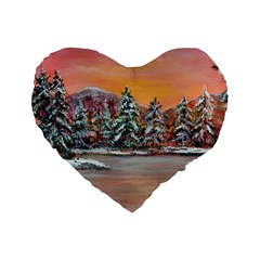 jane s Winter Sunset   By Ave Hurley Of Artrevu   Standard 16  Premium Heart Shape Cushion  by ArtRave2