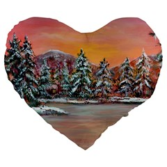 jane s Winter Sunset   By Ave Hurley Of Artrevu   Large 19  Premium Heart Shape Cushion by ArtRave2