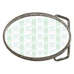 Allover Graphic Soft Aqua Belt Buckle (oval)