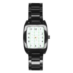 Allover Graphic Soft Aqua Stainless Steel Barrel Watch