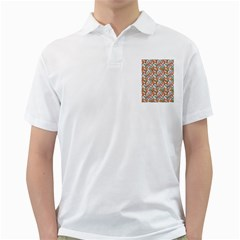 Allover Graphic Brown Mens  Polo Shirt (white) by ImpressiveMoments