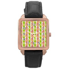 Allover Graphic Red Green Rose Gold Leather Watch  by ImpressiveMoments