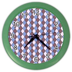 Allover Graphic Blue Brown Wall Clock (color)