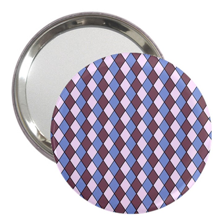 Allover Graphic Blue Brown 3  Handbag Mirror