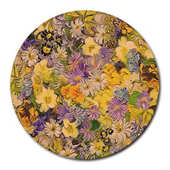 Spring Flowers Effect 8  Mouse Pad (round) by ImpressiveMoments