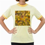 Spring Flowers Effect Womens  Ringer T-shirt (Colored) Front