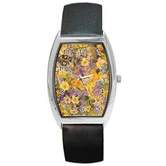 Spring Flowers Effect Tonneau Leather Watch by ImpressiveMoments