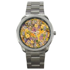 Spring Flowers Effect Sport Metal Watch by ImpressiveMoments