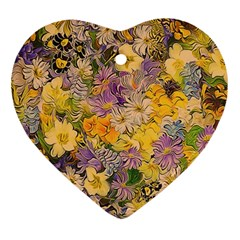 Spring Flowers Effect Heart Ornament (two Sides) by ImpressiveMoments