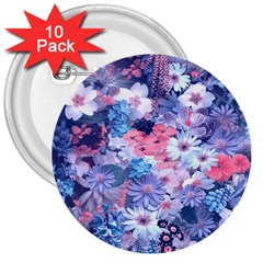 Spring Flowers Blue 3  Button (10 Pack) by ImpressiveMoments