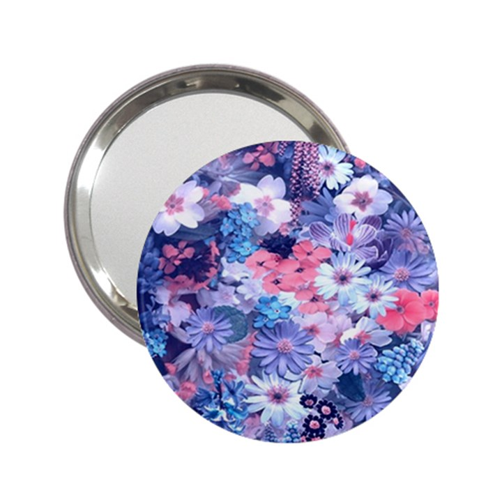 Spring Flowers Blue Handbag Mirror (2.25 )